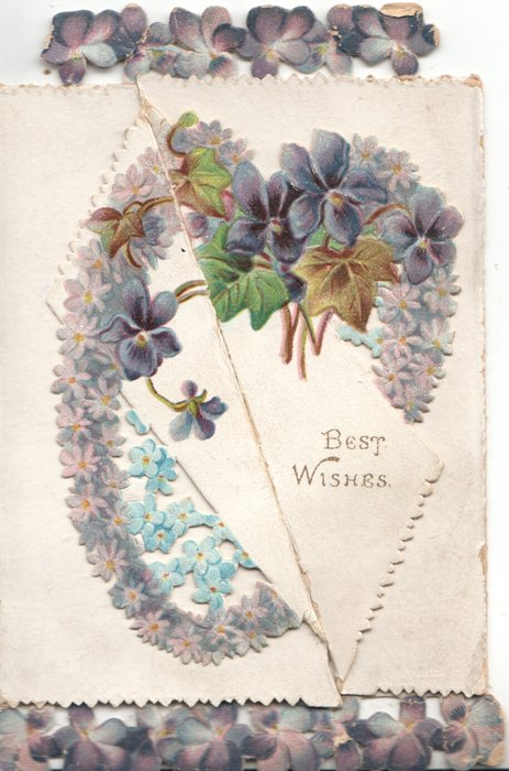 BEST WISHES violets & forget-me-nots in heart shape design across 2 diagonal flaps, violet border design top  & bottom