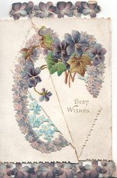 BEST WISHES violets & forget-me-nots in heart shape design across 2 diagonal flaps, violet border design top  & bottom