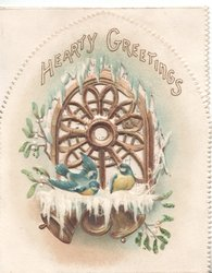 HEARTY GREETINGS in gilt above perforated gilt window framed by mistletoe leaves & berries, white