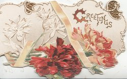 GREETINGS(G illuminated) right, embossed red carnations below, stylised white carnation upper left, yellow ribbon