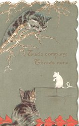TWO'S COMPANY THREE'S NONE, cats above and below white rat, grey background