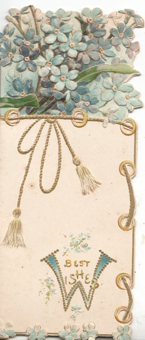 BEST WISHES( W illuminated) below, blue forget-me-nots with rope design