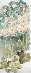 GREETINGS in gilt below perforated mass of forget-me-nots above more forget-me-nots & ivy