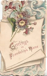 GREETINGS IN FRIENDSHIP'S  NAME on white scroll, blue violets above; white on blue background design