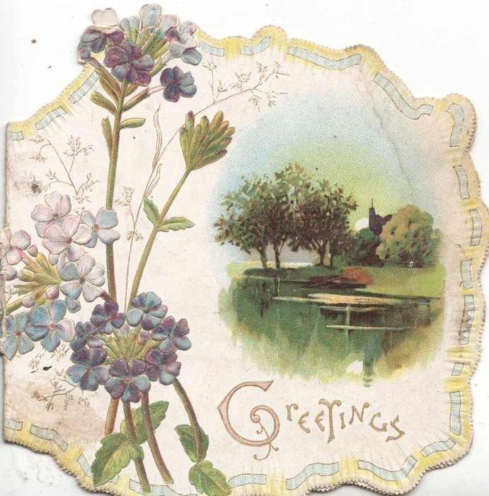 GREETINGS(G illuminated) below inset, fruit trees, windmill behind pond, forget-me-nots left