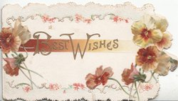 BEST WISHES(B & W illuminated) in gilt centrallly,  bronzed/yellow poppies left & right