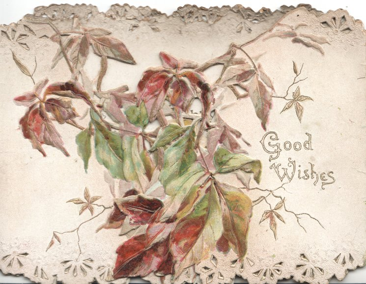 GOOD WISHES right, green & brown blueberry leaves on both left & right flaps
