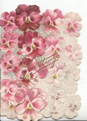 GREETINGS in gilt over complex stylised design of purple & white pansy petals