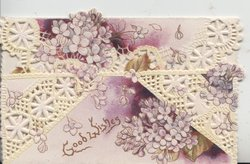 GOOD WISHES stylised floral design of violets in gilt at base, 2 purple & white perforated flaps