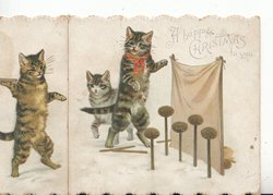 A HAPPY CHRISTMAS TO YOU in gilt, 3 cats bowl