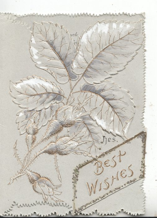 BEST WISHES in gilt in glittered plaque below stylised rose with buds & leaves