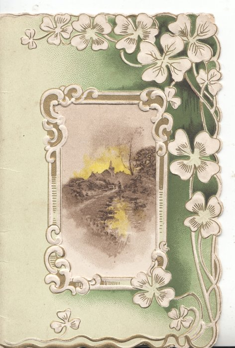 no front title,large perforation framed rural inset, stylised white flowers over green borders