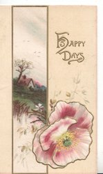 HAPPY DAYS in gilt upper right, rural inset left purple & white & pink poppy below