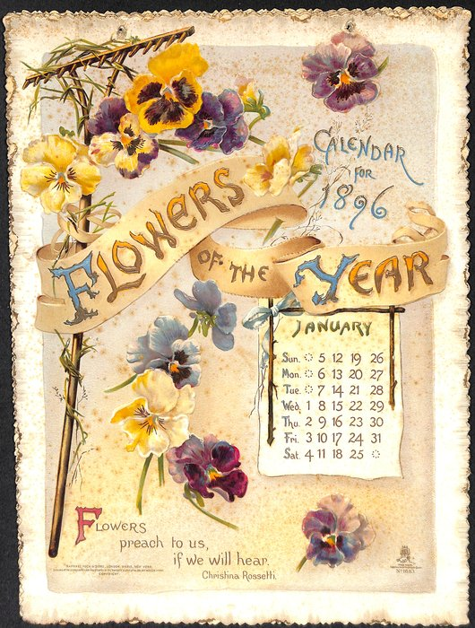 FLOWERS OF THE YEAR CALENDAR FOR 1896