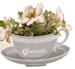 GREETINGS in white as part of design, tea-cup full of white anemones