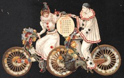 Pierrots riding a bike (no title given) CALENDAR FOR 1899