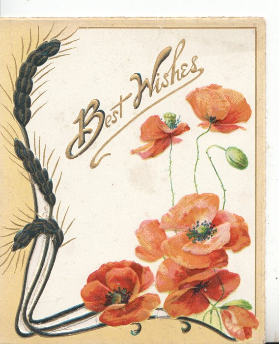 BEST WISHES in gilt on white plaque above red poppies & barley