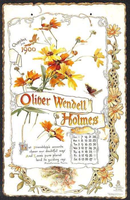 OLIVER WENDELL HOLMES CALENDAR FOR 1900