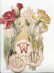 BEST WISHES (B illuminated) yellow & red carnations on long stems above pink & white design