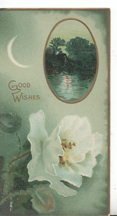 GOOD WISHES in gilt above single white rose, sliver of moon left of rural inset, gilt margins, pale green background