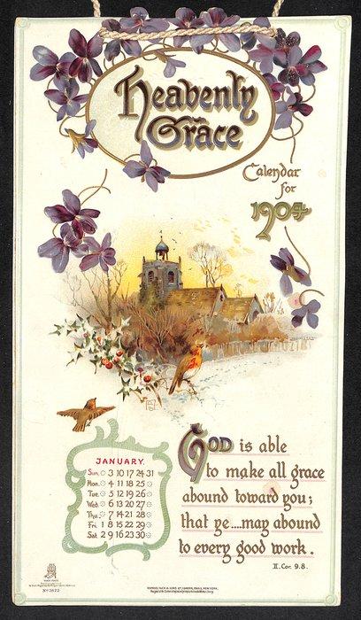 HEAVENLY GRACE CALENDAR FOR 1904