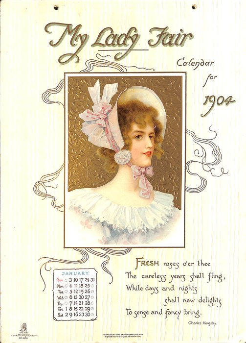 MY LADY FAIR CALENDAR FOR 1904