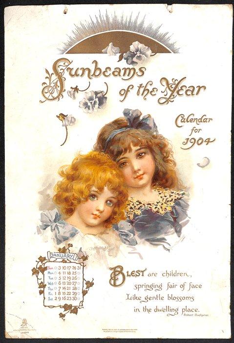SUNBEAMS OF THE YEAR CALENDAR FOR 1904