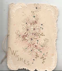 WISHES in gilt below white daisies on embossed cover, inside 4 soft coloured felt pages possibly to house floral sprays