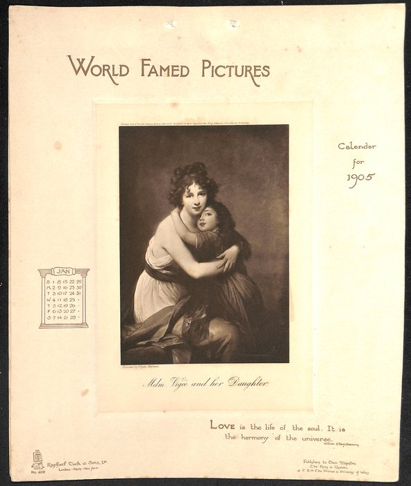 WORLD FAMED PICTURES CALENDAR FOR 1905