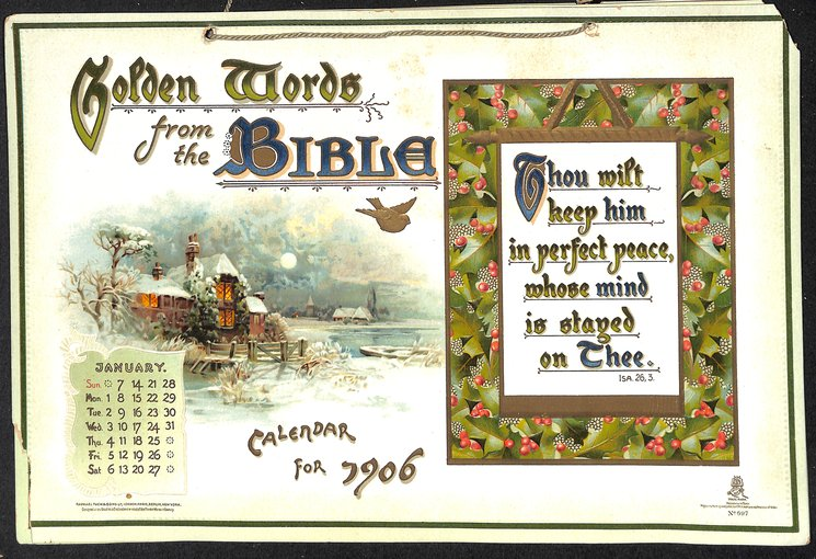 GOLDEN WORDS FROM THE BIBLE CALENDAR FOR 1906