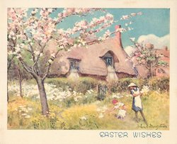 EASTER WISHES two women pick flowers, blossom tree left, cottage behind