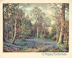 A HAPPY EASTERTIDE inset forest meadow with blanket of purple flowers