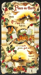 PEACE ON EARTH CALENDAR FOR 1908