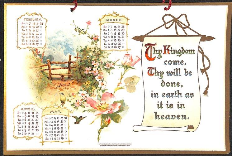 THE LORD'S PRAYER CALENDAR FOR 1909