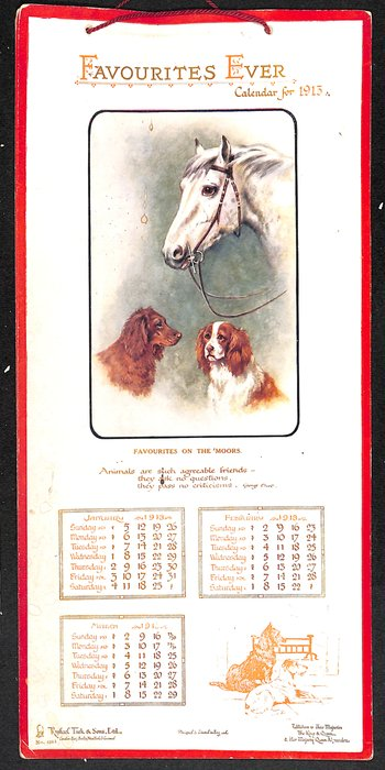 FAVOURITES EVER CALENDAR FOR 1913