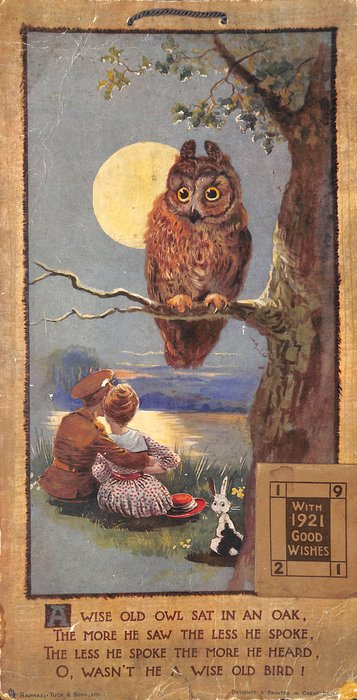 A WISE OLD OWL...., Owl in tree looks down at soldier and girl