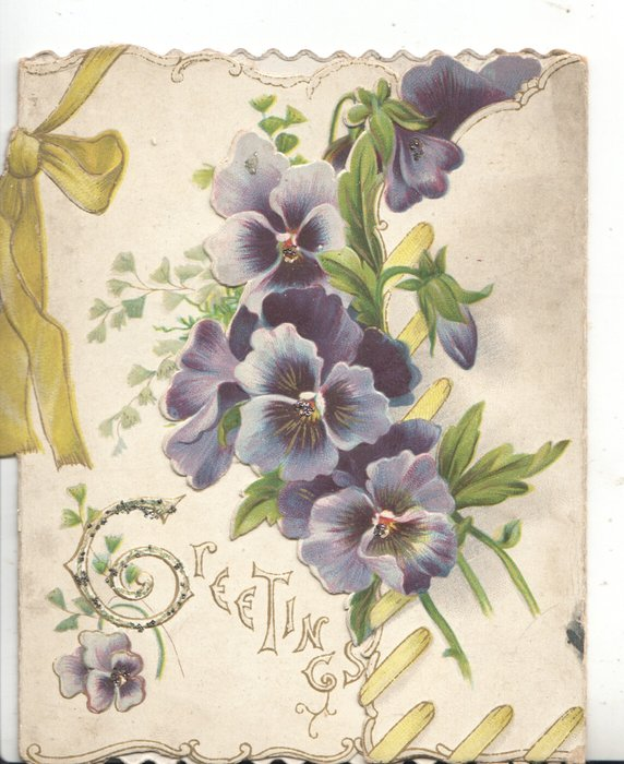 GREETINGS (G glittered & illuminated) central purple pansies, printed yellow ribbon left