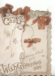 GOOD WISHES in gilt on left flap, red poppies above ALL HAPPINESS ATTEND YOUR CHRISTMAS -TIDE in gilt, rural scene behind left flap