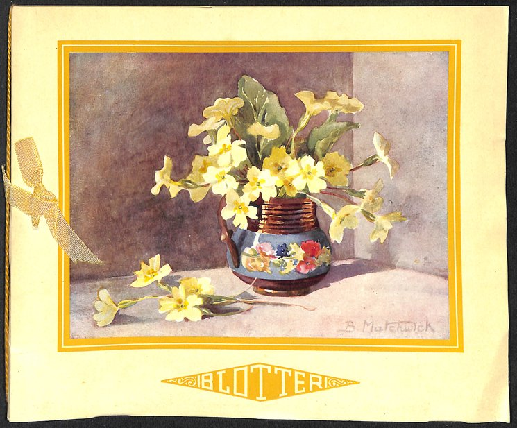 BLOTTER yellow primroses in a floral vase with handle