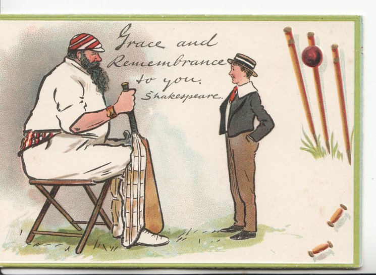 GRACE AND REMEMBRANCE TO YOU seated obese batsman talks to boy, shattered wicket right