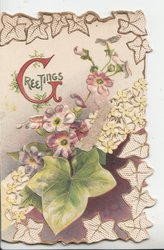 GREETINGS in red left, stylised  white daisies &  ivy leaves, large green leaf below