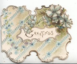 GREETINGS in brown on central yellow bordered white plaque below right, blue cornflowers at top right and as  perforateed background design