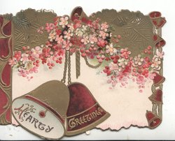 HEARTY GREETINGS in glt on red & gold bells on white below complex stylised pink  flowers, below & gilt design