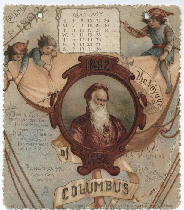 CALENDAR FOR 1893 THE VOYAGE OF COLUMBUS 1492
