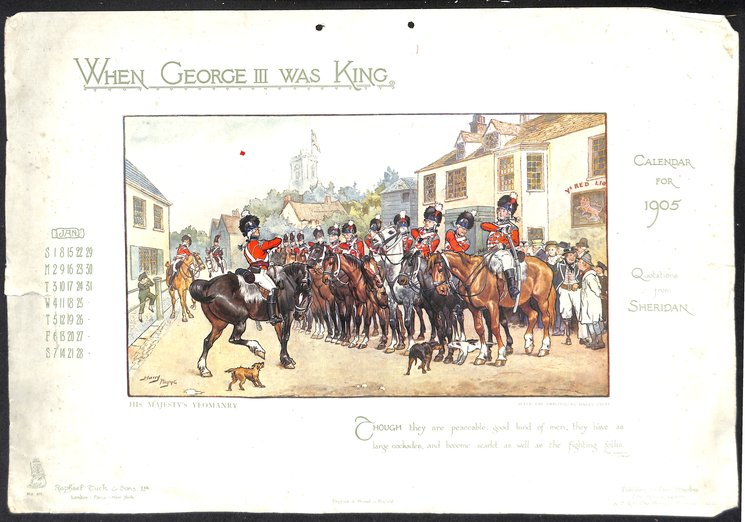 WHEN GEORGE III WAS KING CALENDAR FOR 1905