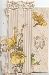 BEST WISHES(W illuminated)  in gilt, yellow anemones among vertical columns