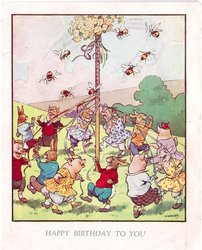 HAPPY BIRTHDAY TO YOU rabbits, & pigs dance around May pole