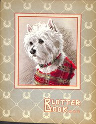 BLOTTER BOOK white terrier dog with plaid jacket and collar