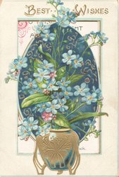 BEST WISHES in gilt above gilt pot of forget-me-nots on perforated blue design
