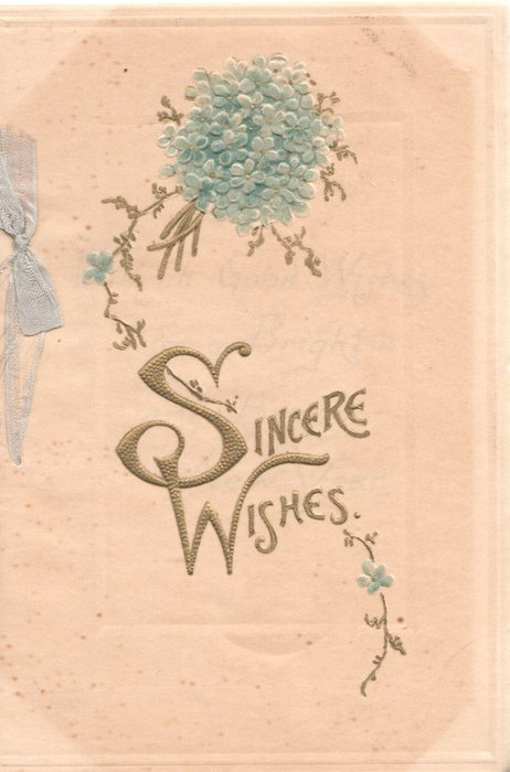 SINCERE WISHES in gilt (S & W illuminated) below bunch of forget-me-nots on thin cellophane